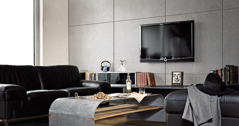 steinhaut fliesen und furnier aus beton f r wand und m belbekleidung. Black Bedroom Furniture Sets. Home Design Ideas